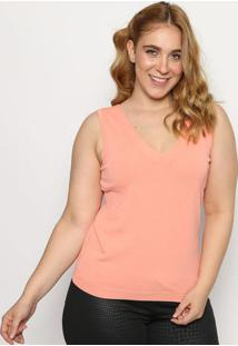 Blusa Lisa Em Tricô- Rosa- Cotton Colors Extracotton Colors Extra
