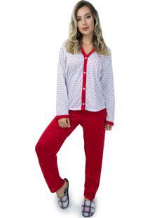 Pijama Mvb Modas Aberto Blusa Com Botões E Calça Vermelho