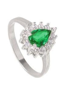 Anel Joia Em Casa Gota Verde Esmeralda D