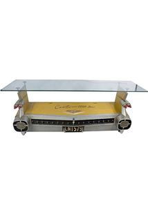 Aparador Traseira Cadillac Amarelo C/ Armário Oldway Em Metal - 143X48 Cm