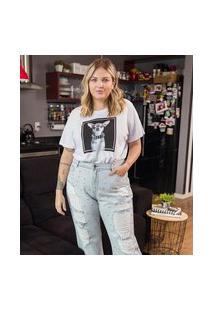 Calça Reta Lisa Com Puídos E Tachas Curve & Plus Size | Ashua Curve E Plus Size | Azul | 46