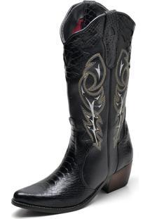 Bota Country Feminina Bico Fino Top Franca Shoes Anaconda Preto
