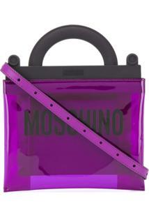 Moschino Bolsa Tote Com Estampa De Logo - Roxo