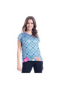 Blusa 101 Resort Wear Cropped Cetim Estampa Floral Barrado Azul