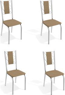 Conjunto Com 4 Cadeiras De Cozinha Lisboa Cromado E Capuccino