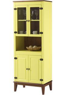 Cristaleira Malu 4 Portas Cor Amarelo Com Amendoa 180 Cm - 62827 - Sun House