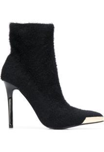 Versace Jeans Couture Bota De Salto Com Efeito De Pele - Preto