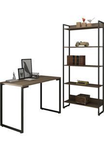 Conjunto Escritório Mesa Escrivaninha 120Cm E Estante 5 Prateleiras Estilo Industrial New Port F02 Castanho - Mpozenato