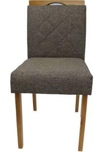 Cadeira Bruna Linho Cinza Escuro Com Puxador Base Mel 46Cm - 59341 - Sun House