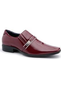Sapato Social Couro Ecologico Ruggero Verniz Masculino - Masculino-Vermelho