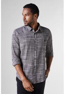 Camisa Regular Xadrez Grade Reserva Masculina - Masculino-Cinza