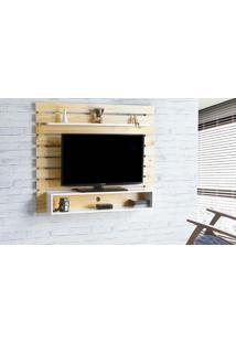 Painel De Tv Para Quarto Standby - Painel De Parede Tv Até 60 Polegadas Natural E Branco - 135X23X115 Cm