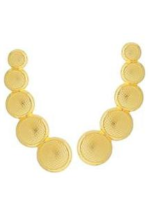 Brinco Dona Diva Semi Joias Ear Cuff Círculos - Feminino-Dourado