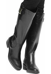 Bota Couro Montaria Shoestock Metal Feminina - Feminino