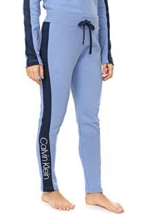 Calça Moletom Calvin Klein Underwear Slim Logo Azul