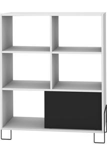 Estante Com 1 Porta Be 51-Brv Móveis - Branco / Preto