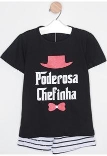 "Pijama ""Poderosa Chefinha""- Preto & Branco- Zulaizulai"
