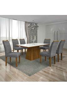 Conjunto De Mesa Com 6 Cadeiras Pampulha I Linho Canela E Cinza