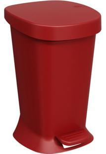 Lixeira Com Pedal Square- Vermelho Escuro- 5L- Bbrinox