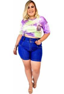 Short Jeans Feminino Plus Size Com Lycra Cintura Alta Azul