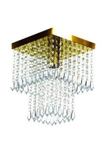Lustre De Cristal Acrilico Marrycrilic Dourado Belissimo!