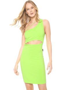 Vestido Ellus 2Nd Floor Curto Ombro Único Neon Verde