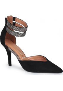 Sapato Scarpin Feminino Vizzano Tornozeleira Strass