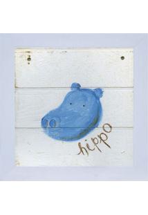 Quadro Decorativo Zoo Hipo - Azul & Branco - 24X24Cmkapos