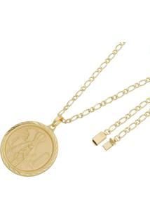 Pingente Nossa Senhora Aparecida Com Corrente Italiana Tudo Joias Fecho Gaveta Folheado A Ouro 18K Dourada