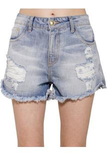 Short Jeans Destroyed Alphorria Feminino - Feminino-Azul
