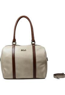 Bolsa Em Couro Recuo Fashion Bag Baú Cacau/Caramelo