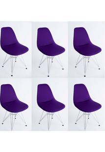 Kit Com 06 Capas Para Cadeira Charles Eames Eiffel Wood Roxo