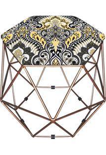 Puff D'Rossi Decorativo Aramado Geométrico Hexágono D77 Base Dourada