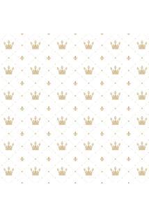 Papel De Parede Quartinhos Adesivo Infantil Coroa Dourada 2,70X0,57M