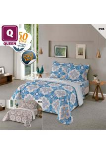 Jogo De Cama Queen 4 Peças: 1 Sobrelençol + 1 Lençol + 2 Fronhas 80% Algodão 150 Fios Laurence Azul - Lepper