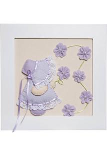 Quadro Decorativo Camponesa Flores Bebê Infantil Menina Potinho De Mel Lilás