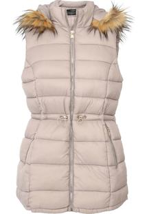 Colete Puffer Facinelli By Mooncity Pelo Bege