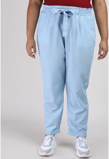 Calça Feminina Clochard Plus Size Com Bolso Azul Claro