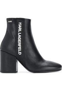 Karl Lagerfeld Ankle Boot Com Estampa De Logo - Preto