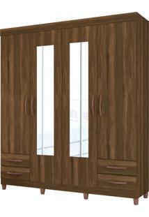Guarda Roupa Diamante C/ Espelho 4 Portas E 4 Gavetas Externas Cedro Albatroz - Tricae