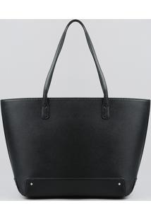 Bolsa Shopper Feminina Com Alça Fixa Preta - Único