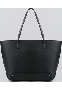 Bolsa Shopper Feminina Com Alça Fixa Preta