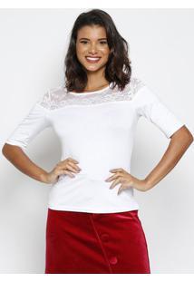 Blusa Lisa Com Renda- Branca- Thiptonthipton