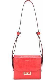 Givenchy Bolsa Tiracolo Eden Pequena Com Efeito Pele De Crocodilo - Vermelho