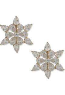 Brinco Estrela Cravejado Com Zircônias - Feminino-Prata+Dourado