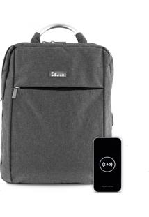 Kit Mochila Executive Casual Cinza Ika Com Carregador Portátil 10000Mah Power Bank Hrebos Preto Alpha.X