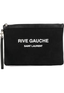 Saint Laurent Porta-Cartões Rive Gauche Com Estampa - Preto