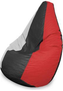 Puff Perão Em Courino Vermelho Preto E Branco