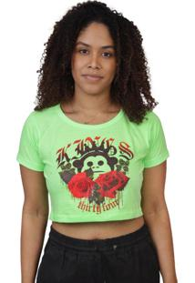 Camiseta Kings Sneakers Cropped Floral Verde Neon - Kanui