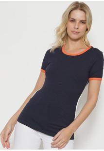 Camiseta Canelada - Azul Marinho & Laranja - Tritontriton